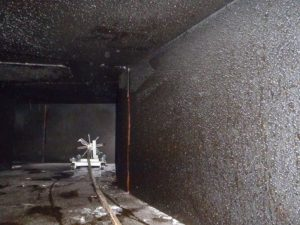 Cleaning device inside and exhaust vent.